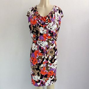 Hugo Boss Sheath Abstract Print Cowl Neck Dress M